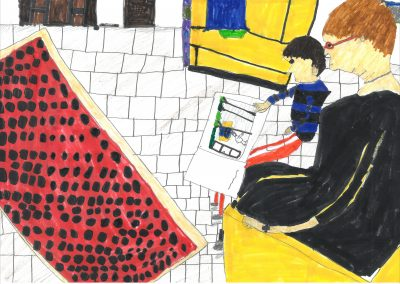 Kinder malen Zeitung Mamamia Würzburg Malaktion 7. März